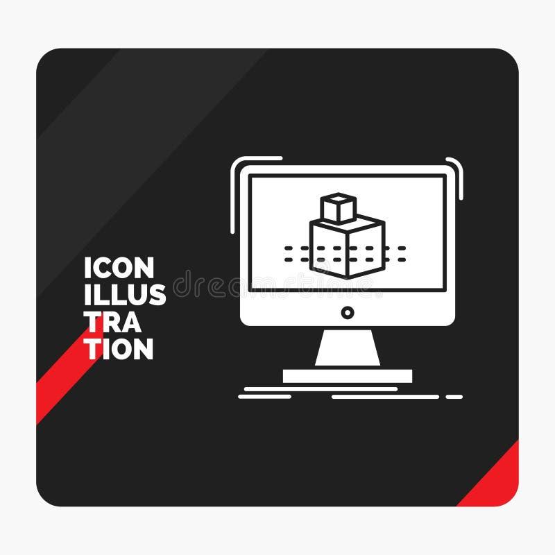 Fondo creativo rosso e nero per 3d, cubo, dimensionale, modellante, icona di presentazione di glifo di schizzo royalty illustrazione gratis