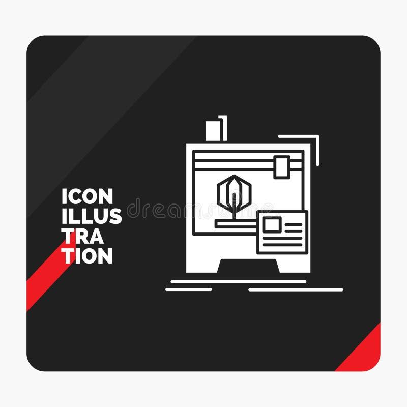 Fondo creativo rosso e nero per 3d, dimensionale, macchina, stampante, icona di presentazione di glifo di stampa illustrazione vettoriale