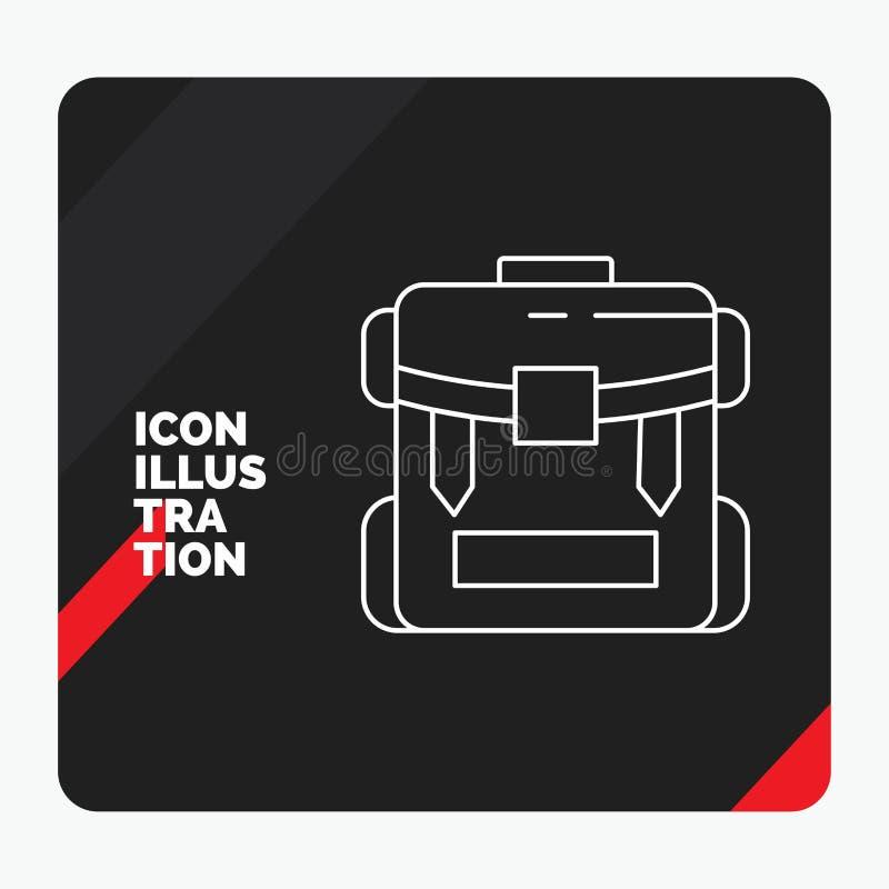 Fondo creativo rosso e nero per la borsa, accampantesi, chiusura lampo, facente un'escursione, linea icona di presentazione dei b illustrazione vettoriale