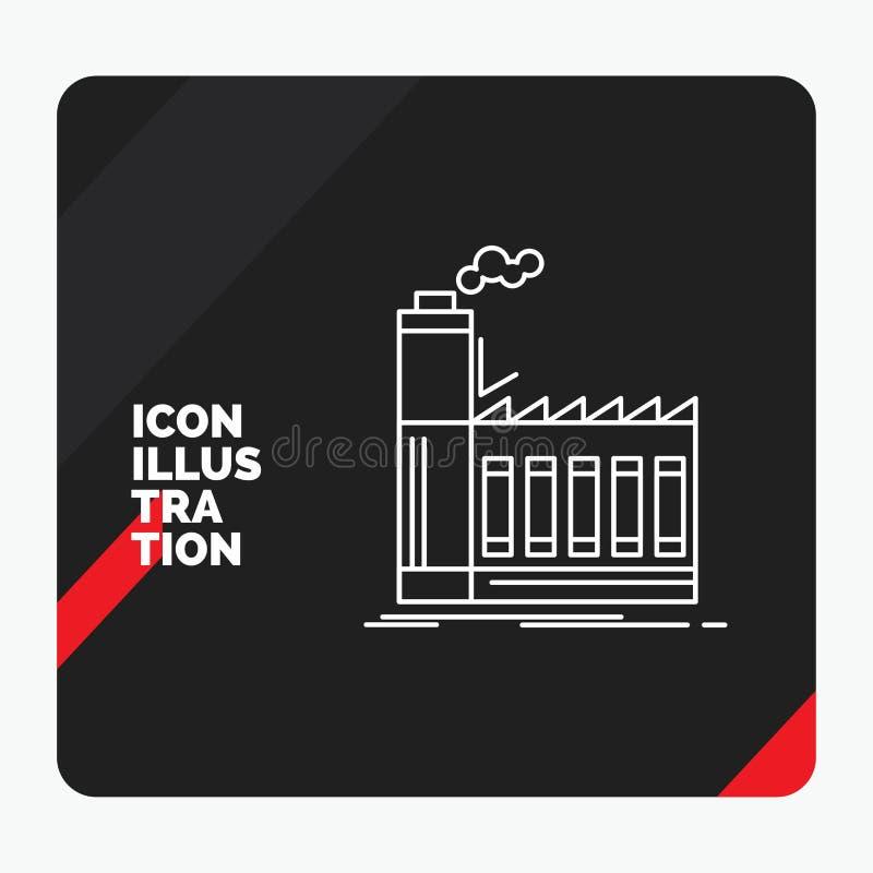 Fondo creativo rosso e nero per la fabbrica, industriale, industria, fabbricazione, linea di produzione icona di presentazione illustrazione di stock