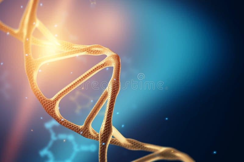Fondo creativo, struttura del DNA, molecola del DNA su un fondo blu, ultravioletto 3d rendono, illustrazione 3d Il concetto di royalty illustrazione gratis