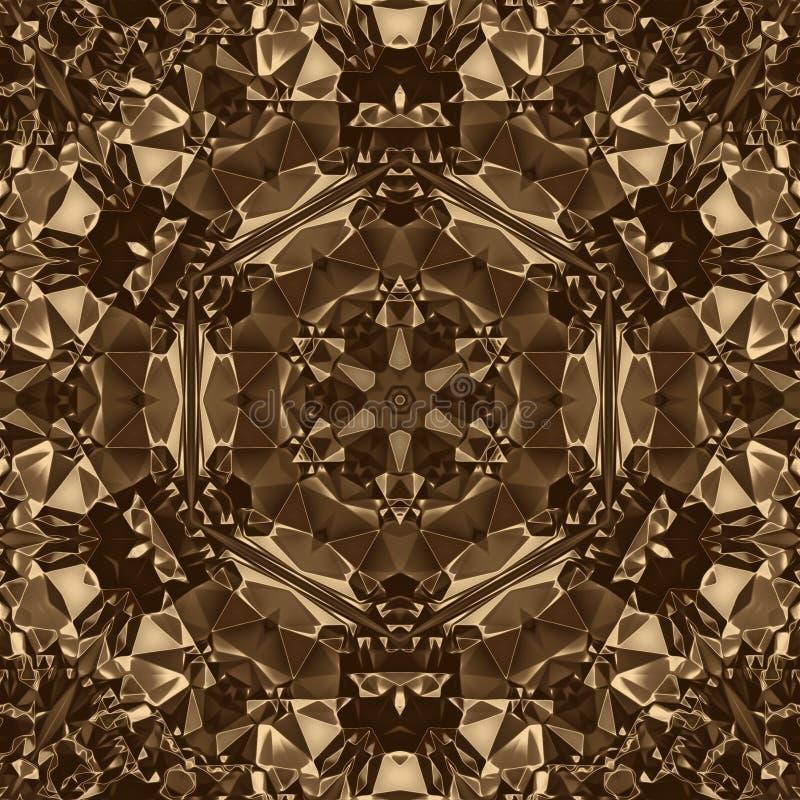 Fondo cristal de la geometría del oro y diseño de la simetría, brillante libre illustration