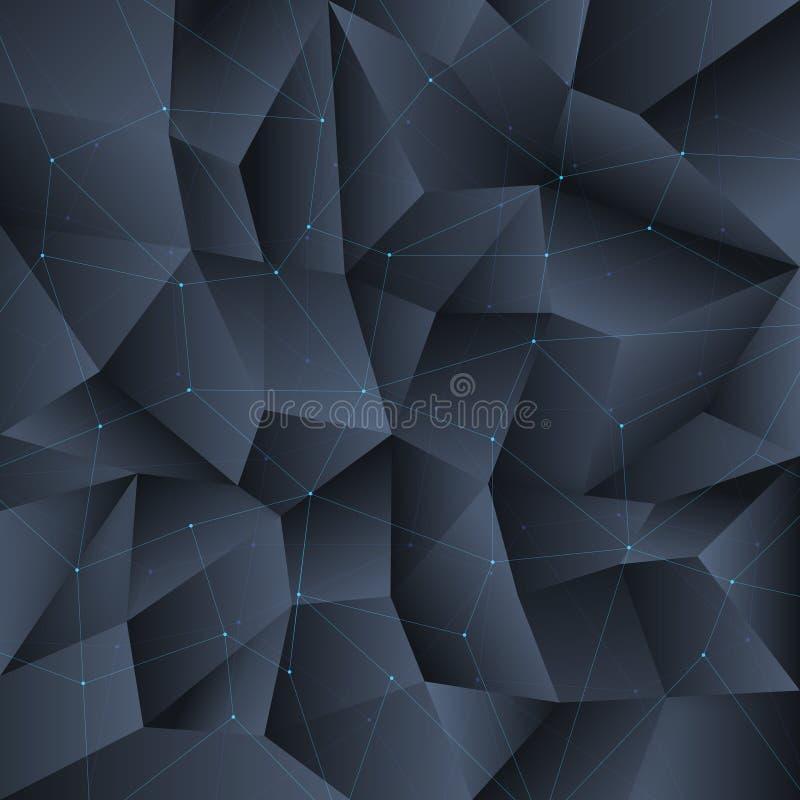 Fondo cristalino negro del polígono con las líneas estructura de conexión stock de ilustración