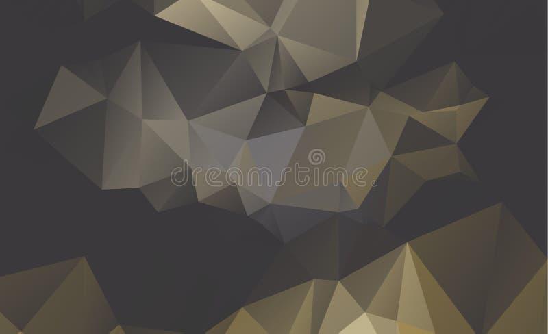 Fondo cristalino polivinílico bajo anaranjado claro Diseño del polígono stock de ilustración