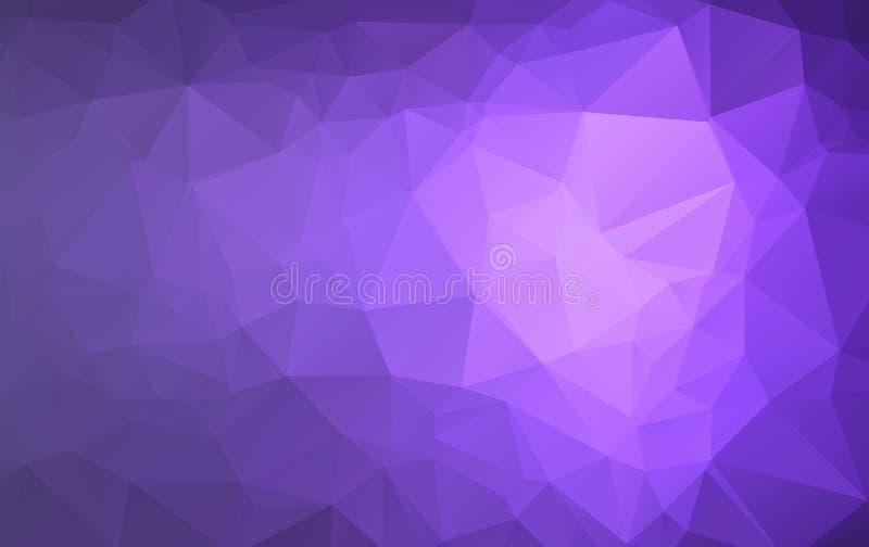 Fondo cristalino polivinílico bajo oscuro abstracto del vector púrpura, rosado Modelo del diseño del polígono Ejemplo polivinílic libre illustration