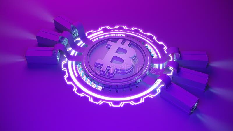 Fondo crypto de la granja de la explotación minera de la moneda de Bitcoin con el espacio de la copia Ejemplo financiero del conc ilustración del vector
