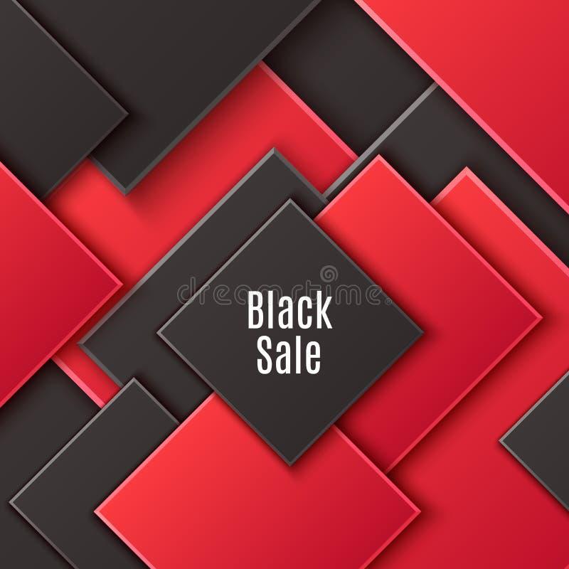 Fondo cuadrado abstracto con el Rhombus acodado negro y rojo Modelo geométrico del corte de papel minimalista del vector Dise?o ilustración del vector