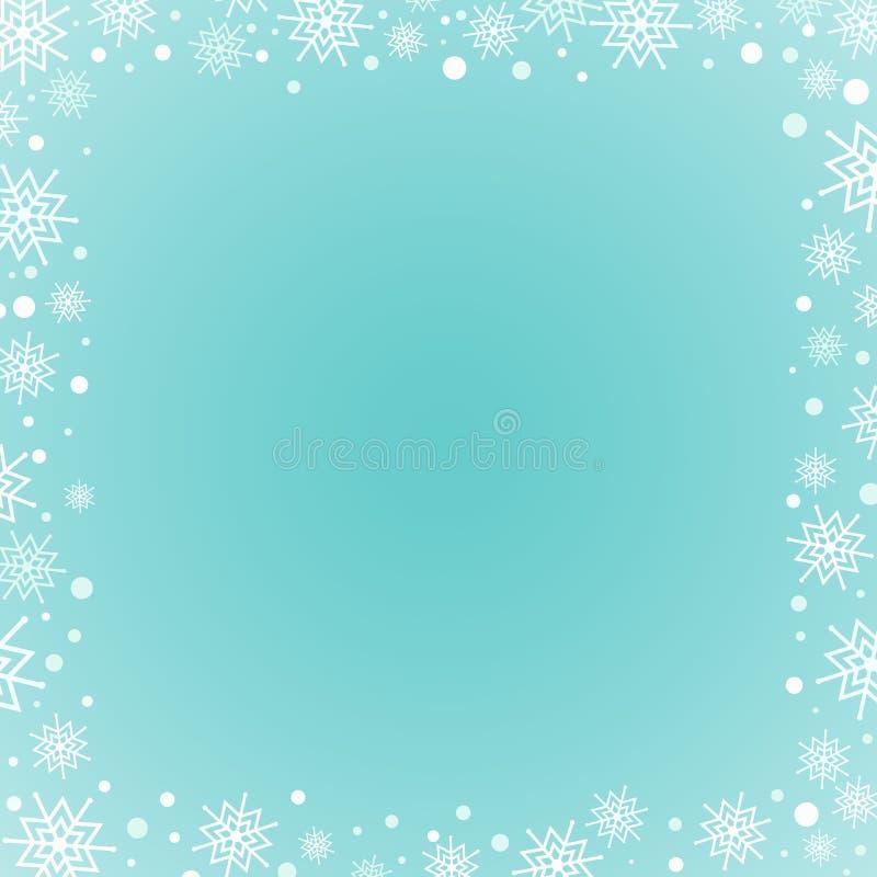 Fondo cuadrado azul Snowflakes con lugar para texto ilustración del vector