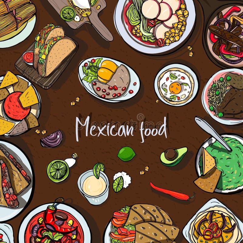 Fondo cuadrado con la comida mexicana cocina tradicional for Cocina tradicional