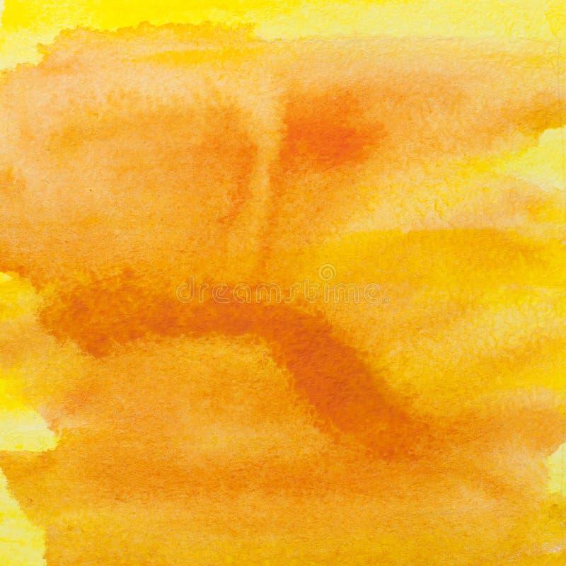 Fondo cuadrado de la bandera de la acuarela del amarillo anaranjado PA de la acuarela imagen de archivo libre de regalías