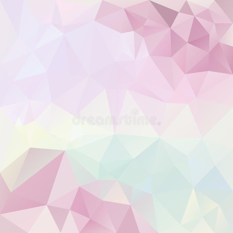 Fondo cuadrado irregular del extracto del vector - modelo polivinílico bajo del triángulo - multicolor lleno en colores pastel li ilustración del vector