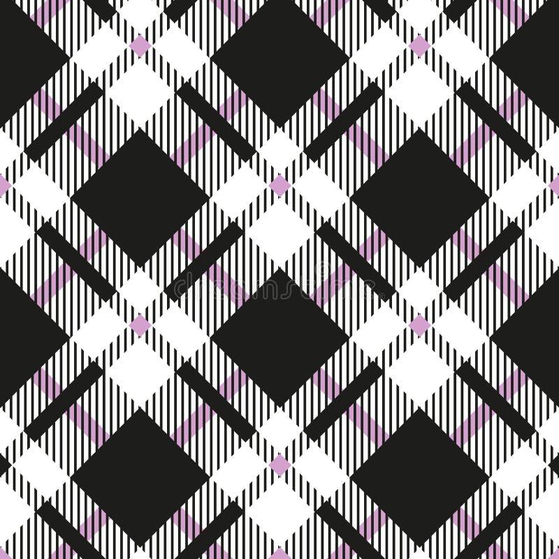 Fondo cuadrado simple geométrico para la tela, t del tartán del modelo de la textura a cuadros inconsútil diagonal blanco y negro ilustración del vector