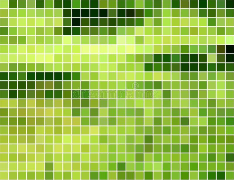 Fondo cuadrado verde y amarillo abstracto del mosaico stock de ilustración