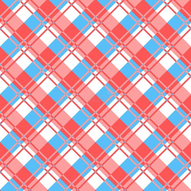 Fondo a cuadros de la tela de la tela escocesa Modelo inconsútil rojo y azul stock de ilustración