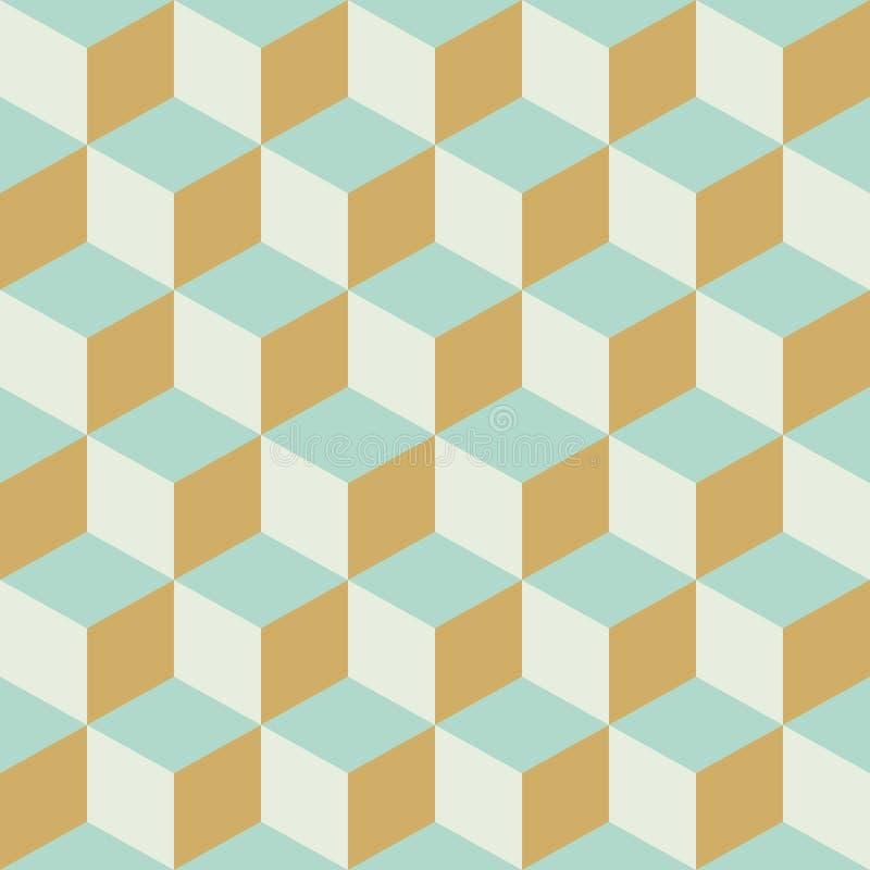 Fondo a cuadros retro inconsútil abstracto del modelo del color del bloque del cubo ilustración del vector