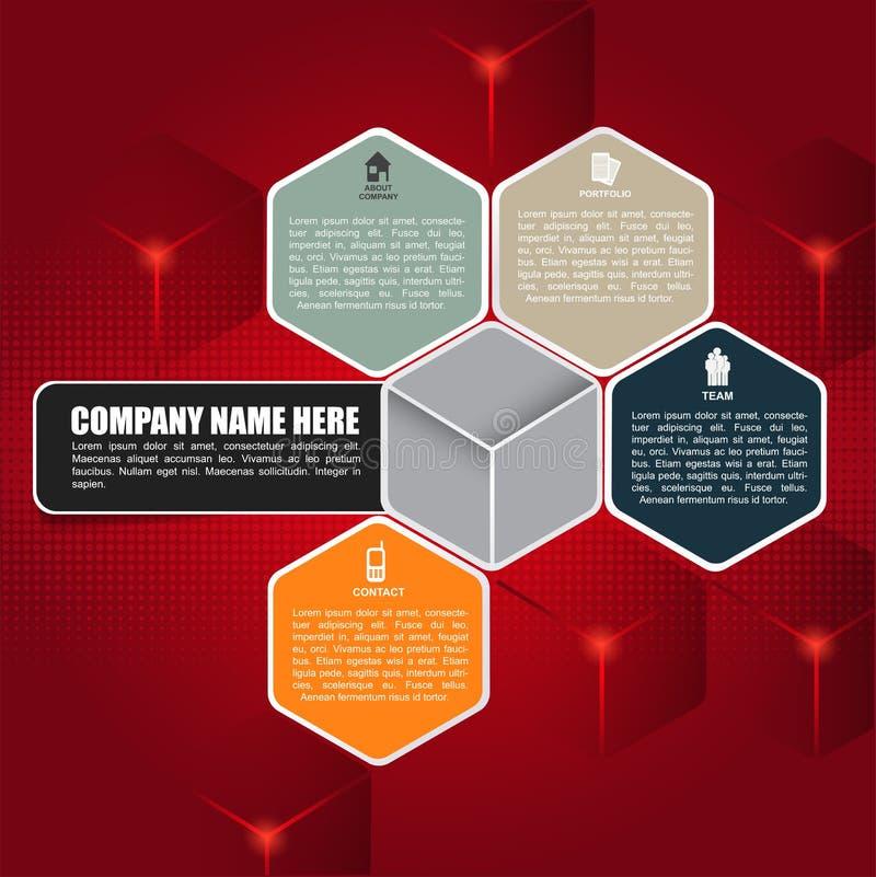 Fondo cubico rosso per l'opuscolo o il web illustrazione di stock