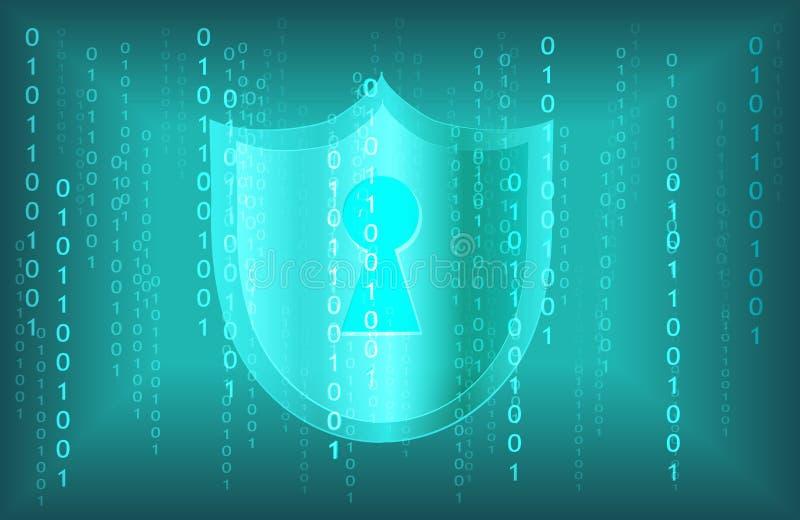 Fondo cyber chiave della rete di tecnologia di dati digitali di sicurezza dell'estratto illustrazione vettoriale