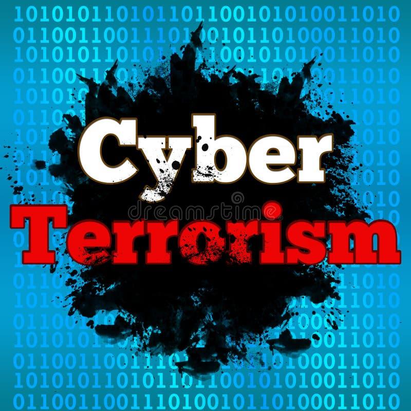 Fondo cyber del file binario del terrorismo illustrazione di stock