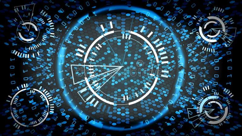 Fondo cyber di concetto di tecnologia futura Progettazione di Digital di velocità dell'estratto ciao Contesto della rete di sicur royalty illustrazione gratis