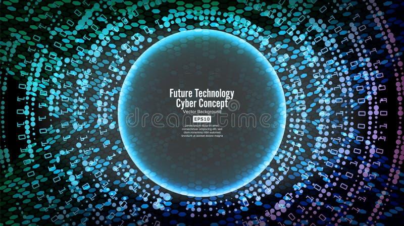 Fondo cyber di concetto di tecnologia futura Stampa astratta di sicurezza Rete elettronica blu Progettazione di sistema di Digita royalty illustrazione gratis