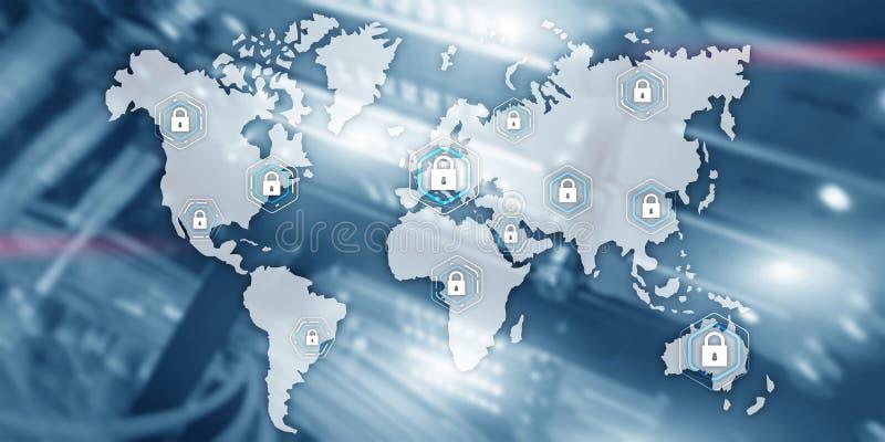 Fondo cyber globale della stanza del server di protezione dei dati di segretezza di comunicazione di concetto di sicurezza illustrazione di stock