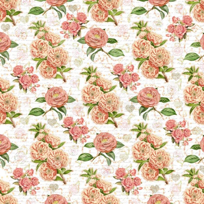 Fondo d'annata antico della carta da parati floreale fotografie stock