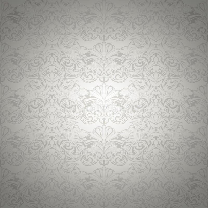 Fondo d'annata d'argento, reale con il modello barrocco classico fotografia stock