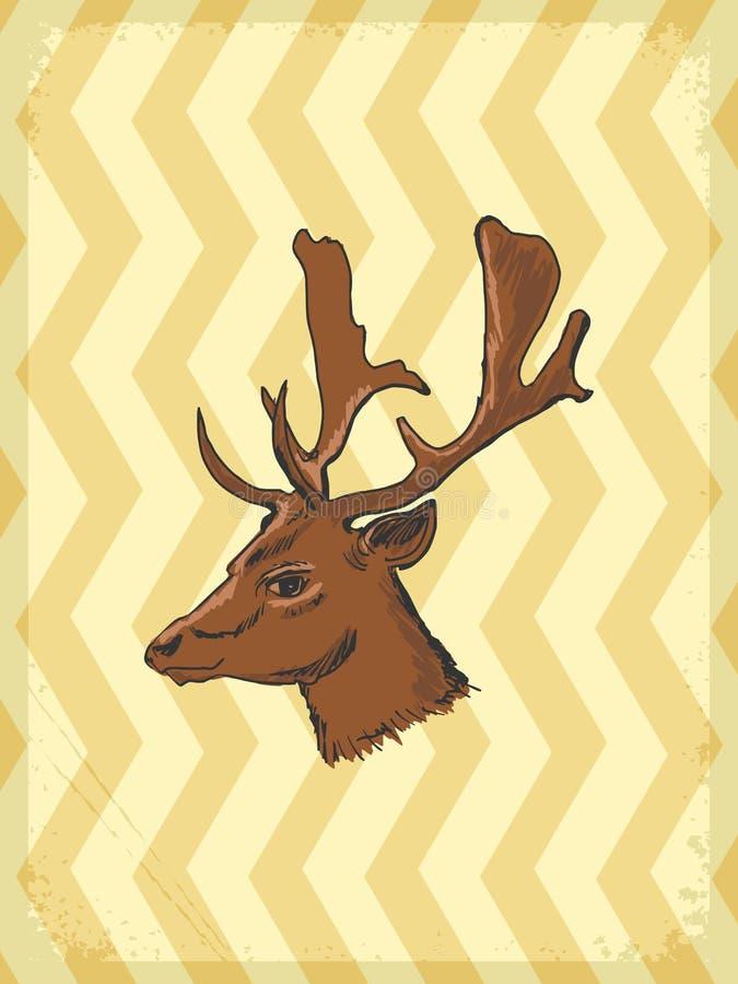 Fondo d'annata con i cervi royalty illustrazione gratis