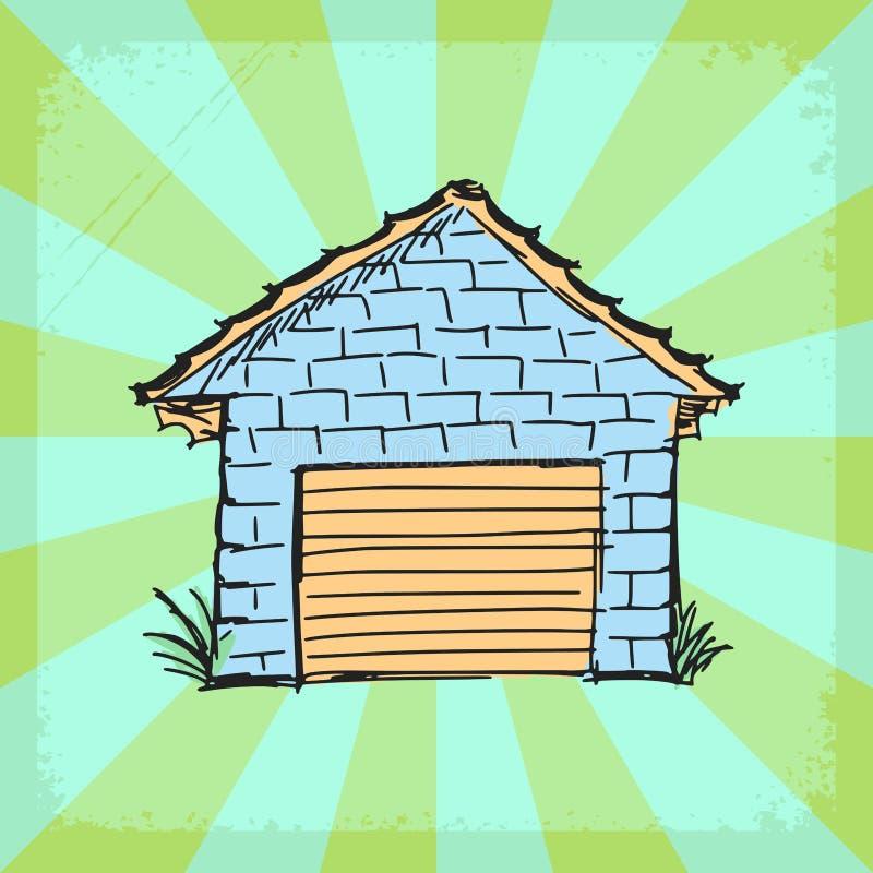 Fondo d'annata con il garage illustrazione vettoriale