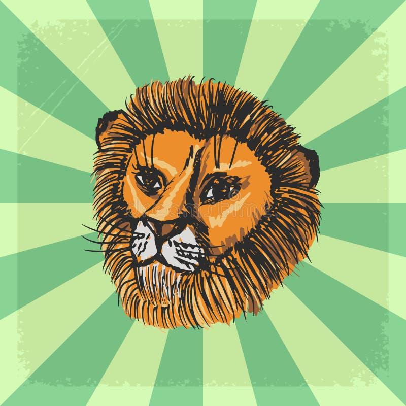 Fondo d'annata con il leone illustrazione vettoriale