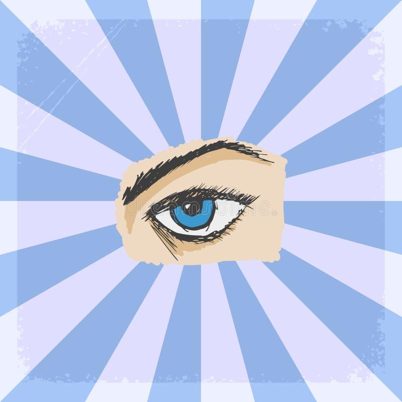 Fondo d'annata con l'occhio illustrazione vettoriale