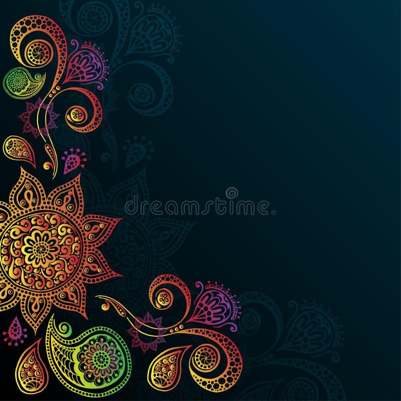 Fondo d'annata con Mandala Indian Ornament illustrazione di stock