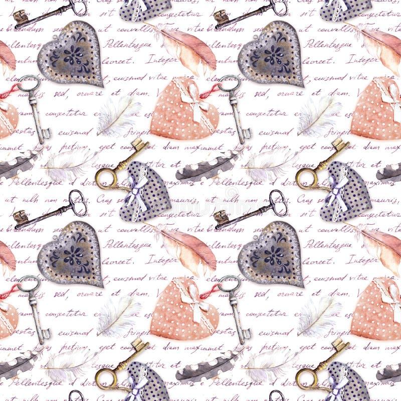 Fondo d'annata - cuori, vecchie chiavi e piume Modello senza cuciture con le lettere scritte mano watercolor illustrazione vettoriale