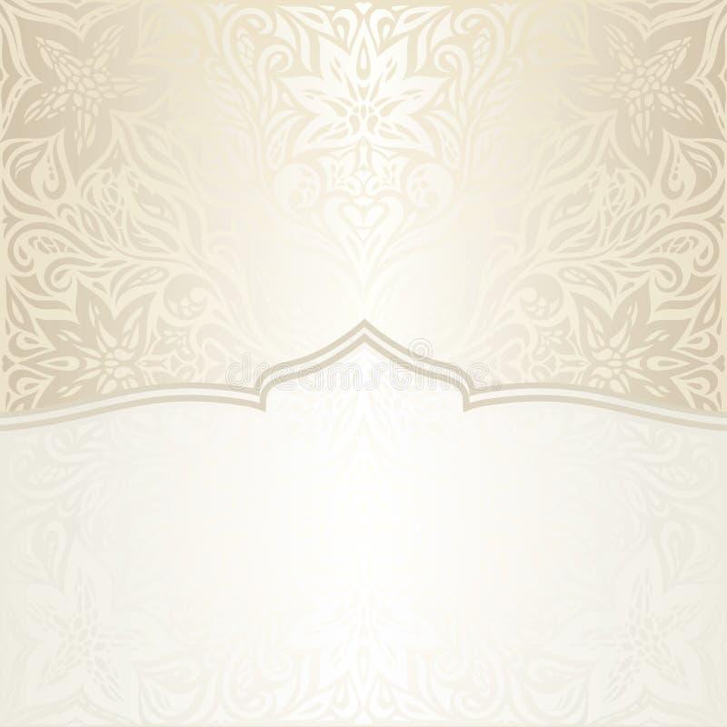 Fondo d'annata decorativo floreale Ecru Bege della mandala di nozze con lo spazio dorato della copia illustrazione di stock