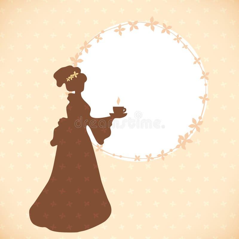 Fondo d'annata del caffè con siluetta la retro di immagine rotonda di eredità della struttura della donna e della donna royalty illustrazione gratis