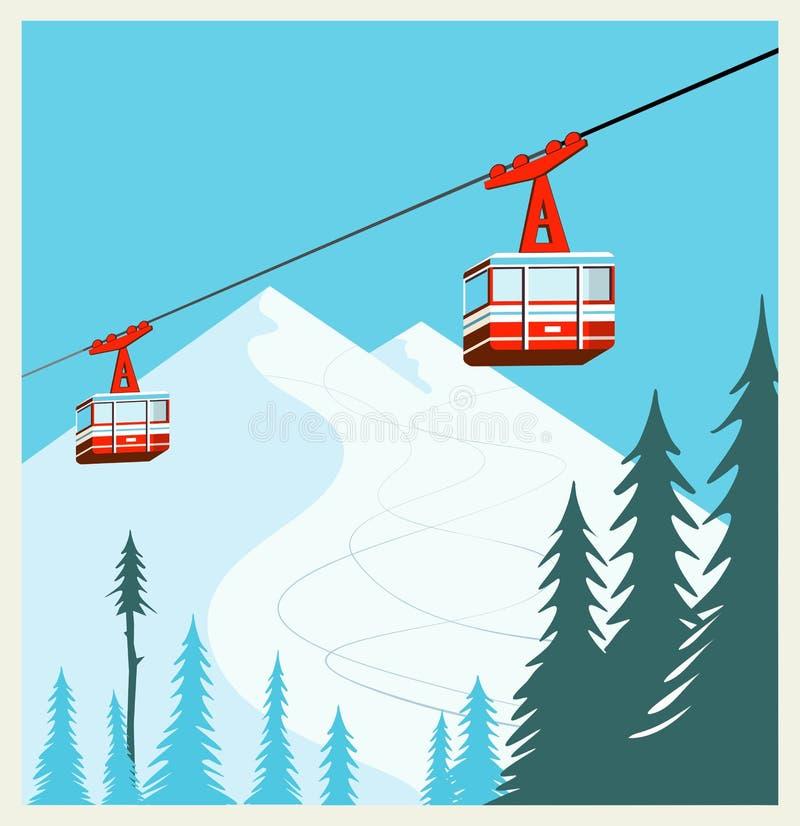 Fondo d'annata del fumetto di inverno, manifesto Gondole rosse dell'ascensore di sci che si muovono in montagne della neve illustrazione di stock