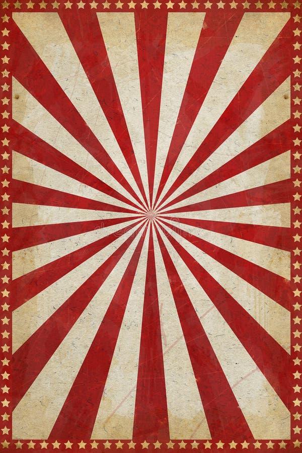 Fondo d'annata del manifesto del circo con lo sprazzo di sole e le stelle illustrazione di stock