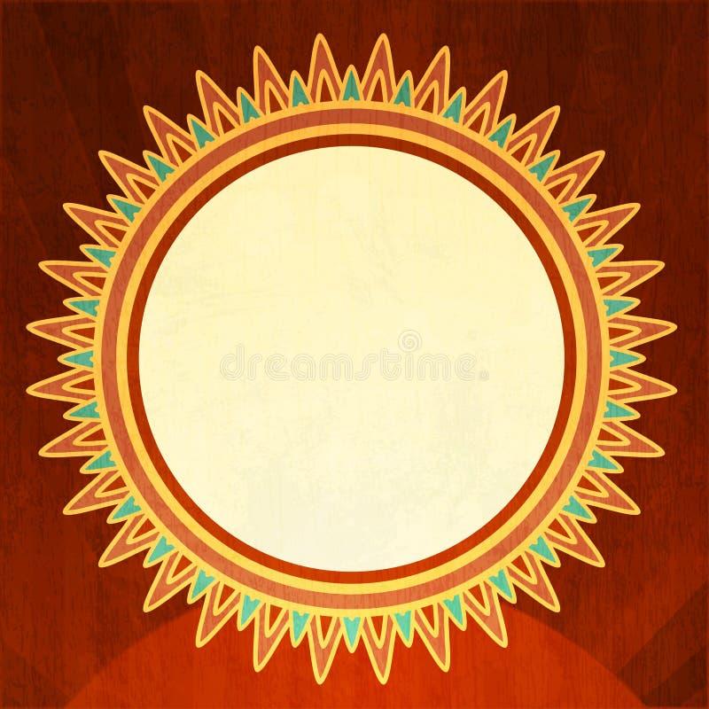 Fondo d'annata del sole con effetto di lerciume illustrazione vettoriale