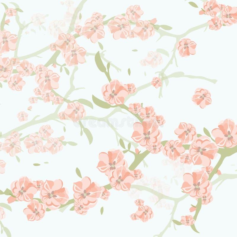 Fondo d'annata dell'acquerello con i fiori di fioritura di Apple illustrazione vettoriale