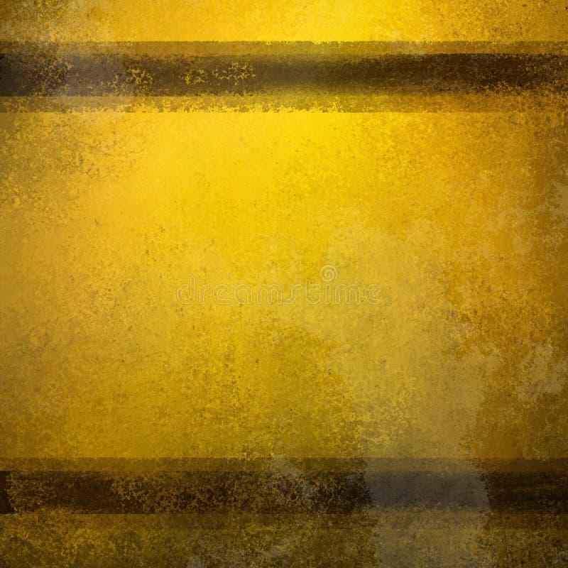 Fondo d'annata dell'oro con le bande marroni e vecchia struttura sbiadita afflitta e macchie immagini stock libere da diritti