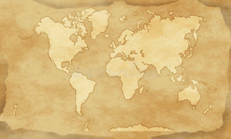 Fondo d'annata della mappa di mondo di stile illustrazione di stock