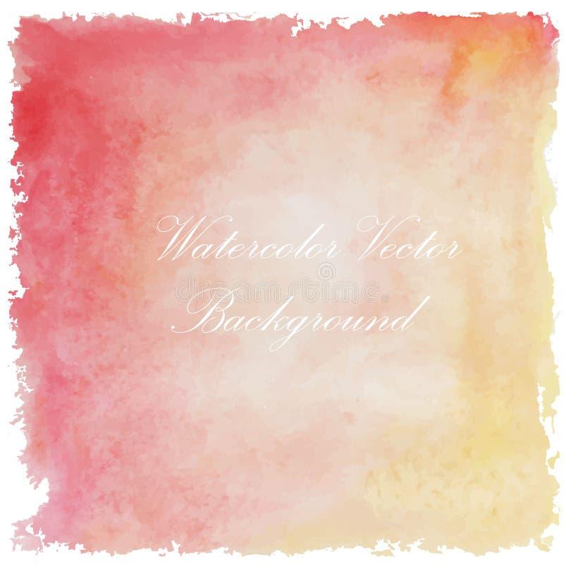 Fondo d'annata della pittura di arte gialla rosa dell'acquerello di estate illustrazione di stock