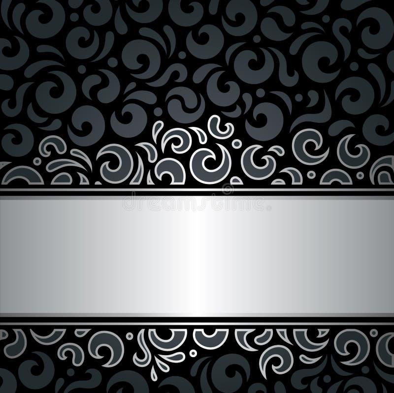 Fondo d 39 annata di lusso nero d 39 argento decorativo della for Carta da parati damascata argento
