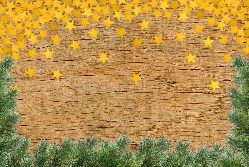 Fondo d'annata di natale - vecchio bordo di legno planked con il pino immagine stock libera da diritti