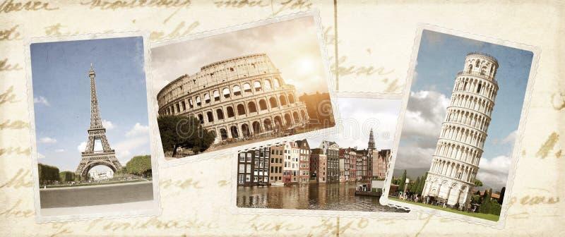 Fondo d'annata di viaggio con le retro foto del punto di riferimento europeo fotografia stock