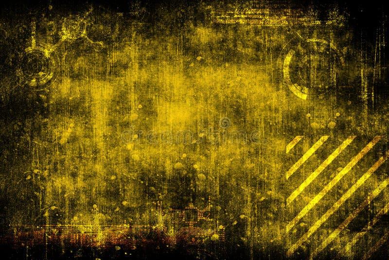 Fondo d'annata industriale di lerciume cyber futuristico astratto Modello su vecchia superficie grungy Disegno futuristico di tec illustrazione di stock