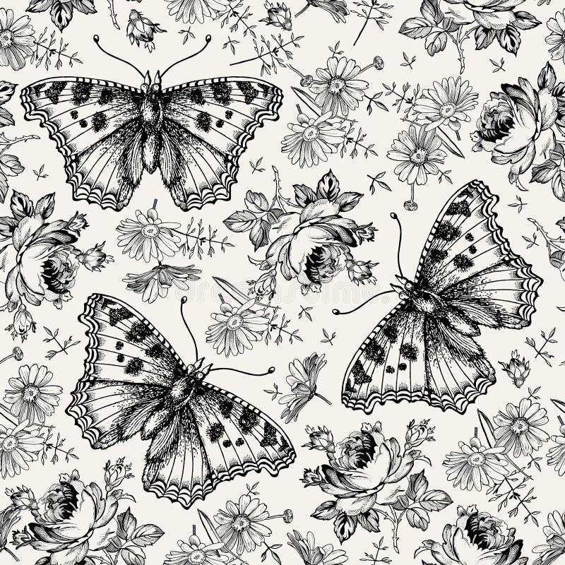 Fondo d'annata isolato realistico Rose Chamomile Wallpaper Drawing dei fiori della farfalla senza cuciture del modello che incide fotografia stock