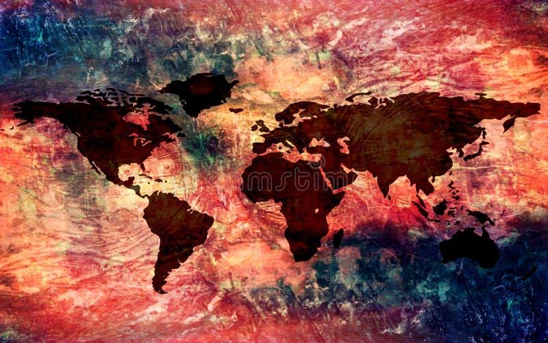 Fondo d'annata multicolore artistico astratto di struttura con una mappa di mondo illustrazione di stock