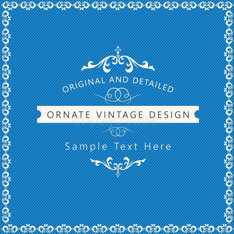 Fondo d'annata originale di progettazione su colore blu illustrazione di stock