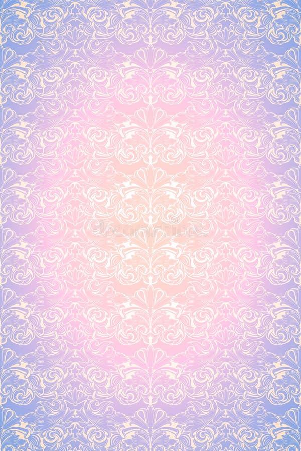 Fondo d'annata rosa e porpora pastello, reale con il modello barrocco classico, rococ? royalty illustrazione gratis